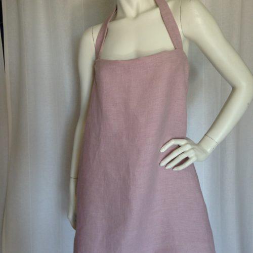 Robe dos-nu en lin rose poudré face1